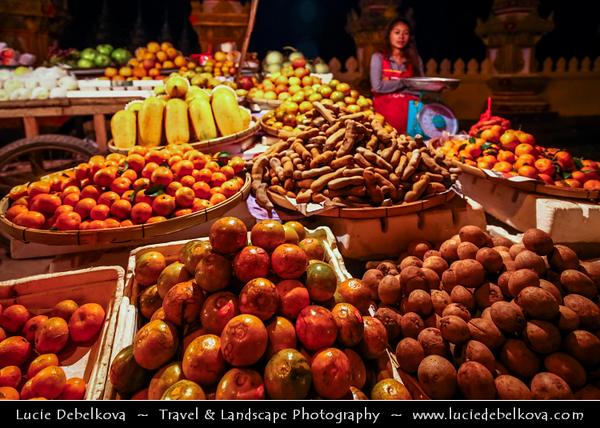 Asia - Laos - Vientiane - Viang chan - Capital city of Laos situated on relaxing riverbank of Mekong River - Night life in the city after dark - Traditional market with food and many local products