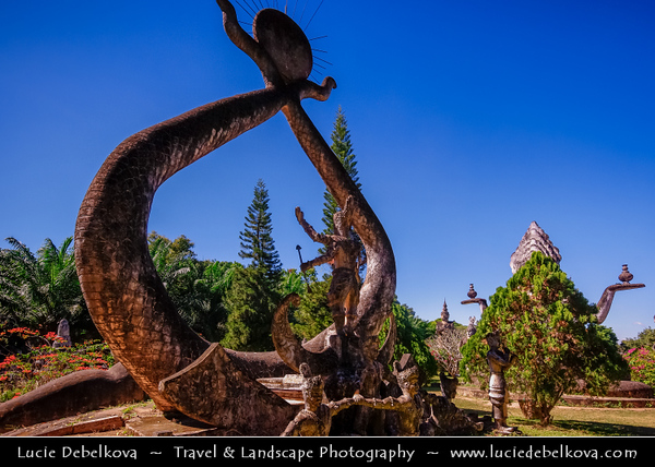Asia - Laos - Vientiane - Viang chan - Capital city of Laos situated on relaxing riverbank of Mekong River - Buddha Park - Xieng Khuan - Spirit City - Sculpture park containing over 200 Hindu and Buddhist statues