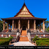 Asia - Laos - Vientiane - Viang chan - Capital city of Laos situated on relaxing riverbank of Mekong River - Haw Phra Kaew - Ho Phra Keo - Haw Phra Keow - Ho Prakeo - Ho Phra Kaew - Temple of the Emerald Buddha - Former royal temple of the Lao monarchy