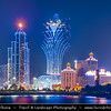 Macau - Macao - 澳門 - 澳门 - SAR - Special administrative region of China - Casino area at Dusk including Grand Lisboa casino