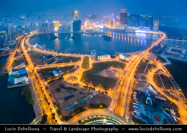 Macau - Macao - 澳門 - 澳门 - SAR - Special administrative region of China - City Skyline View from Macau Tower - 澳門旅遊塔 - Torre Panorâmica - Macau Sky Tower - Casino area at Dusk - Twilight - Blue hour