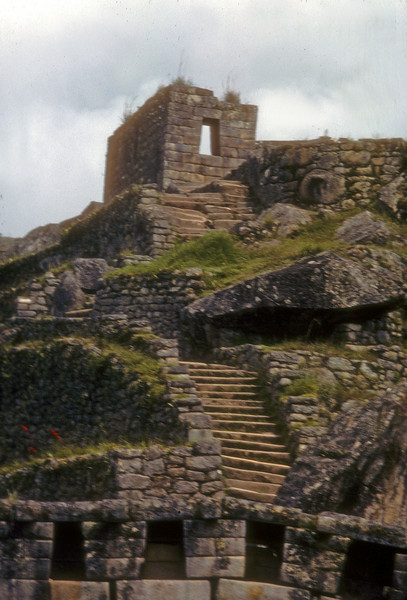 Complex buildings and stairway connect the various levels. machu pichu, peru