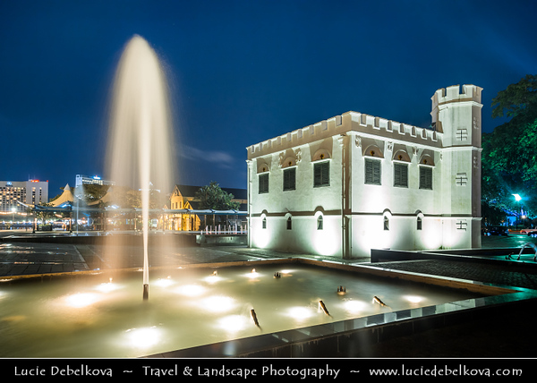 Southeast Asia - Malaysia - Borneo - Sarawak - Kuching -  Waterfront promenade - The Square Tower - Built by Charles Brooke in 1879 as fort - Dusk - Blue Hour - Twilight - Evening - Night