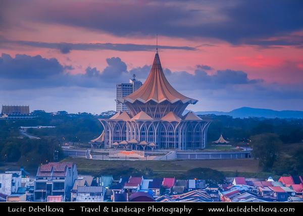 Southeast Asia - Malaysia - Borneo - Sarawak - Kuching -  Waterfront promenade - Sarawak State Legislative Assembly Building - Sunset