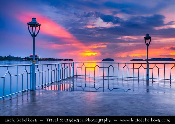 Southeast Asia - Malaysia - Borneo - Sabah - Kota Kinabalu - Dramatic Sunset at Water Village