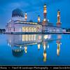 Southeast Asia - Malaysia - Borneo - Sabah - Kota Kinabalu - City Mosque - Twilight - Dusk - Blue Hour - Evening