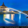 Southeast Asia - Malaysia - Borneo - Sarawak - Kuching -  Waterfront promenade - Sarawak State Legislative Assembly Building - Dusk - Blue Hour - Twilight - Night