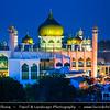 Southeast Asia - Malaysia - Borneo - Sarawak - Kuching - Kuching City Mosque - Masjid Bandaraya Kuching - Old State Mosque - State Mosque of Sarawak - Integral part of Kuching city landscape - Dusk - Blue Hour - Twilight - Evening