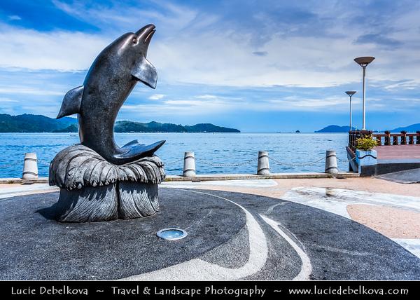 Southeast Asia - Malaysia - Borneo - Sabah - Kota Kinabalu - Dolphin sculpture on the waterfront