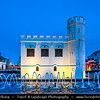 Southeast Asia - Malaysia - Borneo - Sarawak - Kuching -  Waterfront promenade - The Square Tower by night - The tower was, built by Charles Brooke in 1879 as a fort - Dusk - Blue Hour - Twilight - Evening
