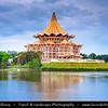 Southeast Asia - Malaysia - Borneo - Sarawak - Kuching -  Waterfront promenade at Sunset - Sarawak State Legislative Assembly Building