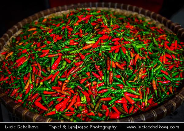 Southeast Asia - Malaysia - Borneo - Sabah - Kota Kinabalu - Life on Traditional Market - Local Chili Pepper - Spice adding heat to dishes
