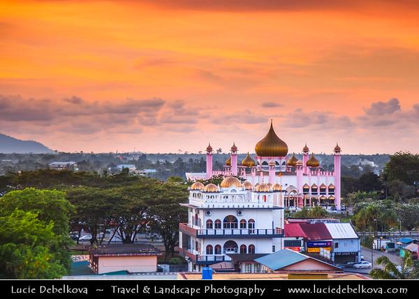 Southeast Asia - Malaysia - Borneo - Sarawak - Kuching - Kuching City Mosque - Masjid Bandaraya Kuching - Old State Mosque - State Mosque of Sarawak - Integral part of Kuching city landscape - Sunset