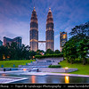 Malaysia - Kuala Lumpur - Federal capital - KL - Garden City of Lights - Petronas Twin Towers - Menara Berkembar Petronas - Tallest buildings in the world from 1998 to 2004 - Remaining the tallest twin buildings ever built