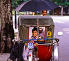 That is a colonial British Jinriksha medallion on this pedicab.<br /> <br /> So the chances are the driver inherited it from his father/grandfather and he was planning to pass it own to his son/grandson.