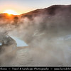 Asia - Mongolia - Монгол улс - Land of Vast Steppes & Kind Nomads - Arkhangai province - Tsenkher Jiguur Hot Springs south of Tsetserleg town - Volcanic hot spring waters with curative properties for joints and other ailments captured during sunset time with sun rays shining throught strong steam
