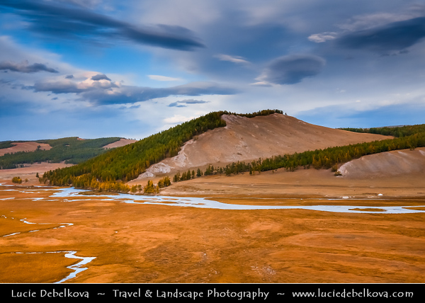 Asia - Mongolia - Монгол улс - Land of Vast Steppes & Kind Nomads - Khövsgöl Province - Хөвсгөл - Northernmost of the 21 provinces - Lake Khövsgöl - Хөвсгөл нуур - Khövsgöl nuur - Surrounding landscape with beautiful autumn colors