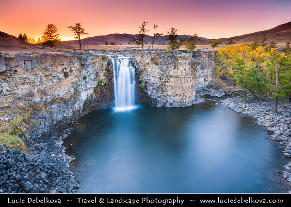 Asia - Mongolia - Монгол улс - Land of Vast Steppes & Kind Nomads - Khangai Mountains - Orkhon Valley - Orkhon River - Орхон гол - Orkhon gol - Orkhon Khurkhree Waterfall - Result of unique combination of volcanic eruption & earthquakes about 20000 years ago