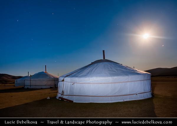 Asia - Mongolia - Монгол улс - Land of Vast Steppes & Kind Nomads - Khangai Mountains - Orkhon Valley - Orkhon River - Орхон гол - Orkhon gol - Traditional Ger - Yurt at Full Moon