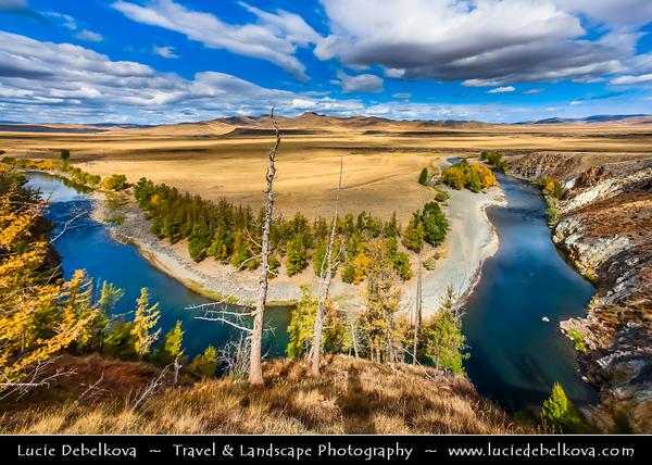 Asia - Mongolia - Монгол улс - Land of Vast Steppes & Kind Nomads - Khangai Mountains - Orkhon Valley - Orkhon River - Орхон гол - Orkhon gol - Beautiful River Bend