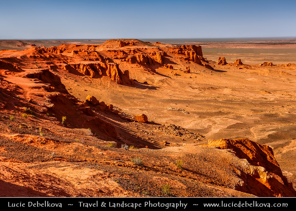 Asia - Mongolia - Монгол улс - Ömnögovi Province - Gobi Gurvansaikhan National Park - Говь гурван сайхан байгалийн цогцолбор газар - Gobi three beauties nature complex - Gobi Desert - Flaming Cliffs - Bayanzag - Баянзаг - Bain-Dzak - Location of important fossil finds, first discovery of dinosaur eggs - Red or orange color of the sandstone cliffs (especially at a sunset) give it its nickname - Huge shelf of rock and sand that descends down into many canyons that meander down to the desert floor