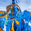 Asia - Mongolia - Монгол улс - Land of Vast Steppes & Kind Nomads - Northern Mongolia - Selenge Province - Amarbayasgalant Tibetan Buddhist Monastery - Surrounding Area with Stone Ovoo - овоо - Type of shamanistic cairn usually made from rocks or wood - Rocks are picked up from the ground & added to pile, worshippers place tree branch or stick in the ovoo and tie a blue khadag - ceremonial silk - Often found at the top of mountains and in high places, like mountain passes. They serve mainly as religious sites, used in worship of mountains & sky as well as in Buddhist ceremonies, often are also landmarks