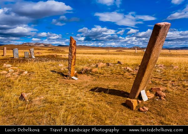 Asia - Mongolia - Монгол улс - Land of Vast Steppes & Kind Nomads - Khuvsgol Province - Kherekshure Grave Cairn Complex in Mörön - Muren - Moron Deer Stones - Mörön Deer Stones - Uushigiin Uver Deerstone - Kherekshures Complex - Numerous standing stones & approx. 500 graves from the Scythian age and earlier