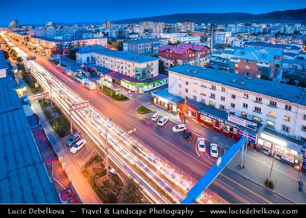 Asia - Mongolia - Монгол улс - Land of Vast Steppes & Kind Nomads - Ulan Bator - Ulaanbaatar - Улаанбаатар - The Red Hero - The capital and largest city of Mongolia - Modern Cityscape at Dusk - Twilight - Blue Hour