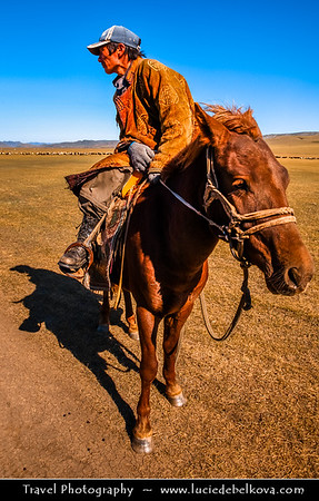 Asia - Mongolia - Монгол улс - Land of Vast Steppes & Kind Nomads - Khövsgöl Province - Хөвсгөл - Northernmost of the 21 provinces - Journey to Lake Khövsgöl - Хөвсгөл нуур - Khövsgöl nuur - Traditional horse rider and his mongolian horse
