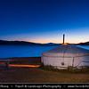 Asia - Mongolia - Монгол улс - Land of Vast Steppes & Kind Nomads - Central Mongolia - Arkhangai province - Khorgo-Terkhiin Tsagaan Nuur National Park -  Khangai Mountains - Terkhiin Tsagaan Lake - White Lake - Traditional Ger - Yurt at Dusk - Twilight - Blue Hour