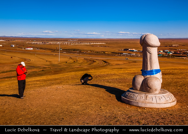 Asia - Mongolia - Монгол улс - Land of Vast Steppes & Kind Nomads - Övörkhangai Province - Kharkhorin & adjacent to ancient city of Karakorum - Phallic rock - Large stone penis attracts steady streams of curiosity-seekers - Located in hidden up a small valley, about 2km southeast of Erdene Zuu Khiid