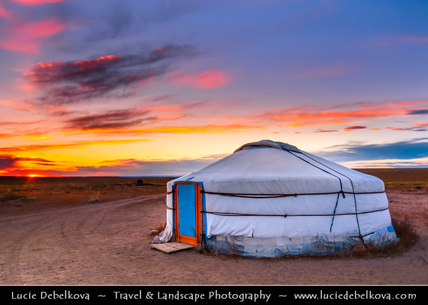 Asia - Mongolia - Монгол улс - Land of Vast Steppes & Kind Nomads - Central Mongolia - Gorkhi-Terelj National Park - Горхи-Тэрэлж - Stunning landscape with large natural beauty & interesting rock formations bathing in warm autumn colors located in Khentii Mountains - Traditional Ger - Yurt at Sunset