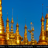 Asia - Myanmar - Burma - Yangon - Rangoon - Shwedagon Pagoda - ရွှေတိဂုံစေတီတော် - Shwedagon Zedi Daw - Great Dagon Pagoda - Golden Pagoda - Gilded stupa, 99 metres (325 ft) tall pagoda situated on Singuttara Hill dominating the Yangon skyline