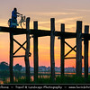 Asia - Myanmar - Burma - Mandalay - U Bein Bridge - ဦးပိန် တံတား - Crossing that spans Taungthaman Lake near Amarapura in Myanmar - 1.2-kilometre (0.75 mi) bridge was built around 1850 and is believed to be the oldest and longest teakwood bridge in the world