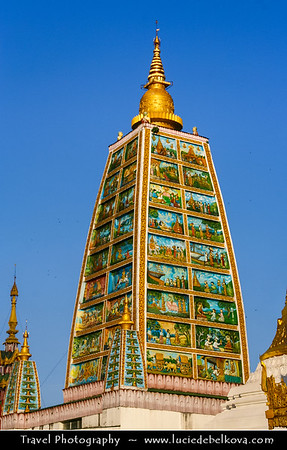 Asia - Myanmar - Burma - Yangon - Rangoon - Shwedagon Pagoda - ရွှေတိဂုံစေတီတော် - Shwedagon Zedi Daw - Great Dagon Pagoda - Golden Pagoda - Gilded stupa, 99 metres (325 ft) tall pagoda situated on Singuttara Hill dominating the Yangon skyline