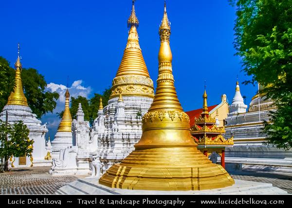 Asia - Myanmar - Burma - Mandalay - Historical town along Ayeyarwady (Irrawaddy) River - Golden Kuthodaw Pagoda and white stupas