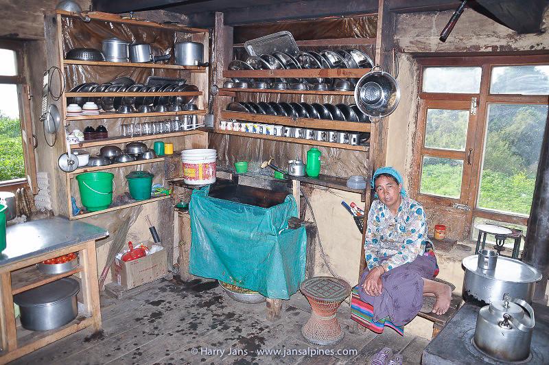 kitchen at Deurali tea house, 2625m