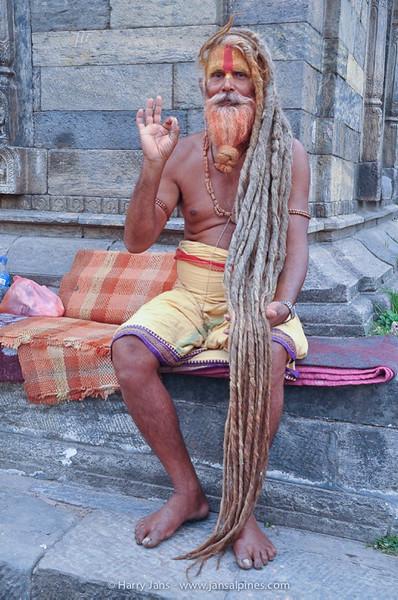 Sadhu with long (real?) hair at Pashupatinath temple