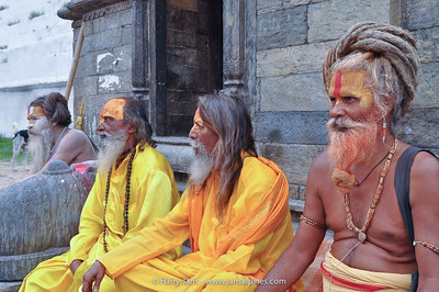 Sadhus (holy men in Nepal) at Pashupatinath temple