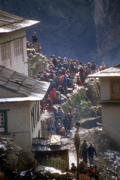Saturday Market in Namche Bazar, Kumbu, Nepal.  All the goods offered in this market were carried in from the lowlands by porters in baskets. It takes 13 days to make the trip.