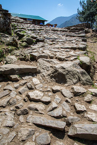 Uneven rock path throughout most of the Khumbu region