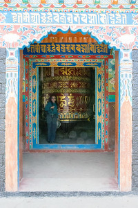 Spinning a giant prayer wheel in Lukla