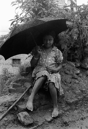 Young Girl with Umbrella #1a - Kathmandu, Nepal