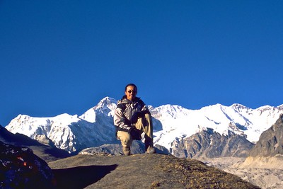 Posing for a photo with Cho Oyu in the background