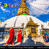 Asia - Nepal - Kathmandu Valley - Swayambhunath - Swoyambhunath - Ancient religious complex atop a hill consisting of a stupa, a variety of shrines and temples, some dating back to the Licchavi period