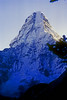 "Last light on Amai Dablang, 6,856 meters, Kumbu, Nepal  Known as the 'fishtail"""