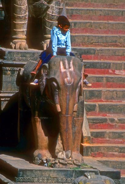 Kids play on elephants outside of Kathmandu