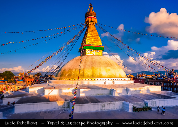 Asia - Nepal - Boudha - UNESCO World Heritage Site - Town located 7 km East/Northeast of Kathmandu - Home to one of the largest Buddhist stupas in the world built during the 5th century AD - Boudhanath Stupa - Important place of pilgrimage & meditation for Tibetan Buddhists & local Nepalis
