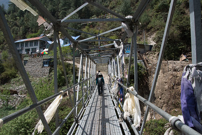 One of the few non-suspension bridges along the trekking route.