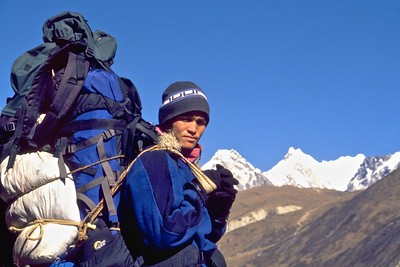 My sherpa, Kumar, carrying a large load
